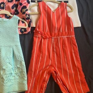 Janie and Jack orange striped jumpsuit 12-18 mos